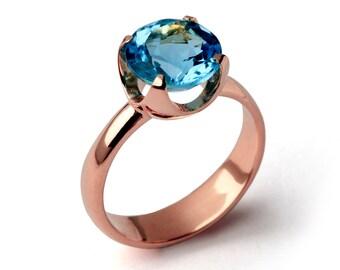 Tasse Blauer Topas Verlobungsring 14 K Gold Blau Topas Ring Etsy