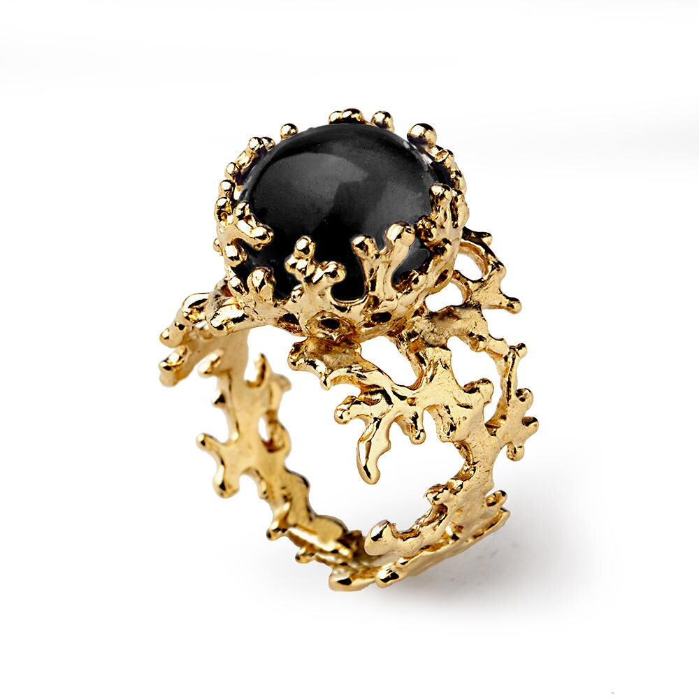 Coral 14k Gold Onyx Ring Black Onyx Engagement Ring Unique