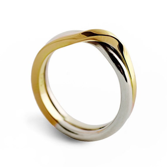 Love Knot Two Tone Wedding Band Unique Wedding Ring Etsy