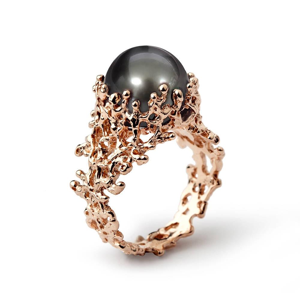 CORAL Tahitian Pearl Ring Rose Gold Pearl Engagement Ring