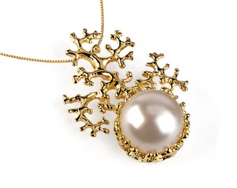 CORAL White Pearl Pendant Necklace, 14k Gold White Pearl Necklace Wedding, Bridal Pearl Necklace Gold, Bridal Jewelry Pearl