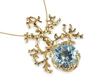 CORAL Sky Blue Topaz Pendant Necklace, 14k Gold Necklace, Sky Blue Topaz Necklace, Unique Solid Gold Necklace, Gemstone Necklace