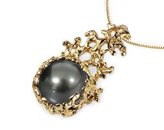 CORAL 14K Gold Black Tahitian Pearl Pendant Necklace, Gold Pearl Necklace Wedding, Black Pearl Pendant, Tahitian Pearl Necklace