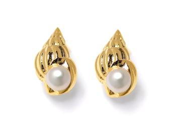 SEASHELL Earrings, Gold Pearl Earrings, Unique White Pearl Stud Earrings, Bridal Pearl Earrings, 14k Gold Shell Earrings, Mermaid Jewelry
