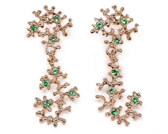SEA HORSE 14k Rose Gold Earrings, Emerald Earrings, Gemstone Dangle Earrings Gold, Natural Emerald Dangles, Chandelier Statement Earrings