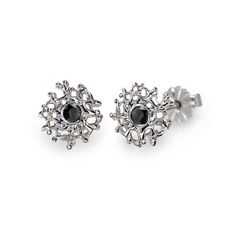 558ac4a48bd60 CORAL 14K White Gold Earrings Posts Small, Gold Black Diamond Stud  Earrings, Small Black Diamond Earrings, Small Gold Posts