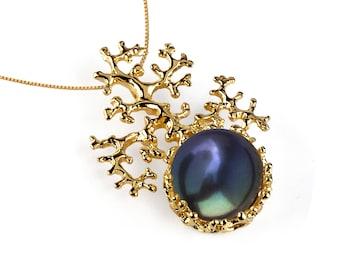 CORAL Black Pearl Pendant Necklace, 14k Gold Black Pearl Necklace Wedding, Bridal Pearl Necklace, Bridal Jewelry Pearl, Black Pearl Gold