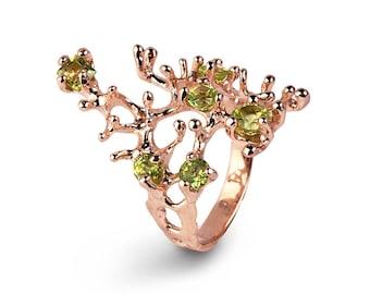 REEF 14k Rose Gold Ring, Rose Gold Peridot Ring, Green Peridot Ring Gold, Peridot Enagagement Ring, Organic Ring