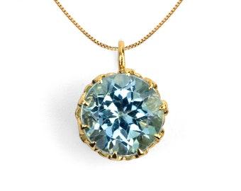 CROWN Sky Blue Topaz Pendant Necklace, 14k Yellow Gold Necklace, Sky Blue Topaz Charm Necklace, Gemstone Necklace, Birthstone Pendant