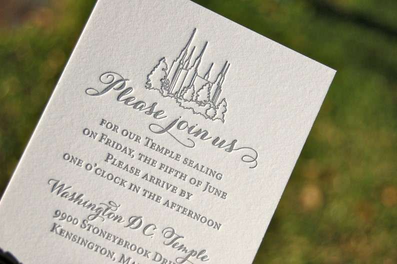 LDS Wedding Invitations Letterpress Blush And Charcoal Invites DEPOSIT
