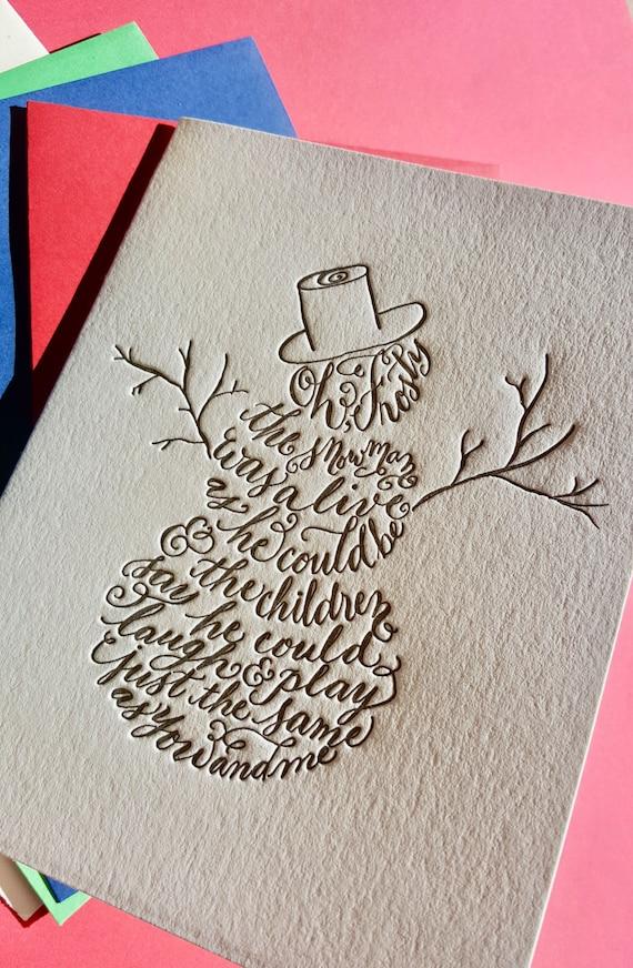 Frosty the Snowman Christmas Card Letterpress Snowman Card | Etsy