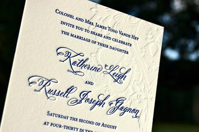 Wedding Invitations Letterpress Blind Embossed Paisley