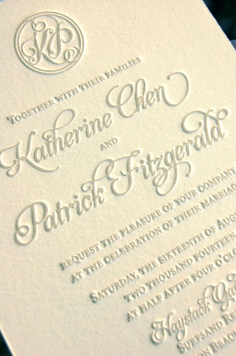 Monogram Wedding Invitations Letterpress Soft Gray Custom