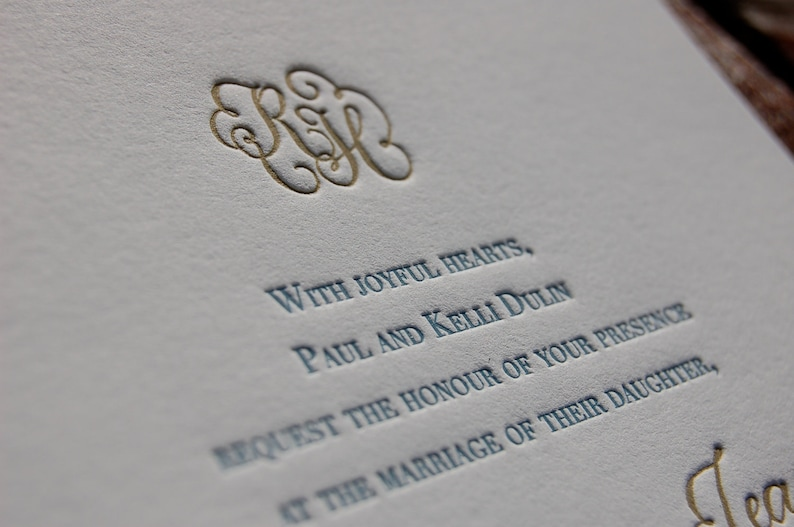 Letterpress Wedding Invitation Featuring Hand Calligraphy Names And Monogram DEPOSIT