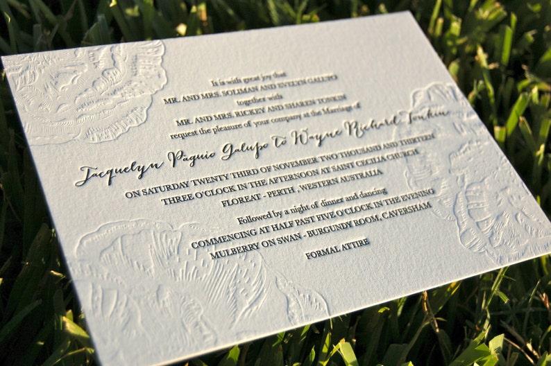 Letterpress Wedding Invitations Blind Emboss Floral DEPOSIT