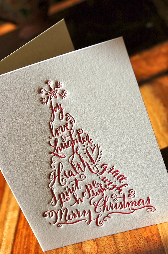 Christmas Cards Featuring Calligraphy Christmas Tree in Red | Etsy