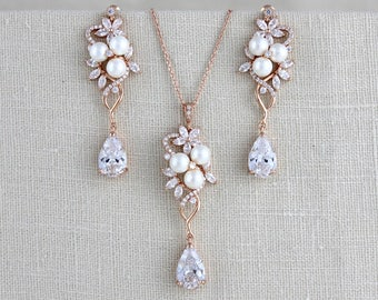 Rose gold Bridal earrings, Crystal Wedding earrings, Bridal jewelry, Necklace set, Jewelry set, Bridesmaid jewelry, Bridal necklace, MIA