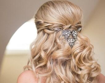 Wedding headpiece, Wedding hair accessories, Back headpiece, Bridal hair comb, Swarovski headpiece, Bridal hair clip, Silver hair piece