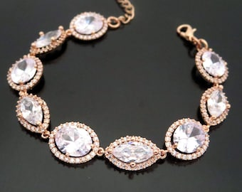 Crystal Bridal bracelet Rose gold bracelet Wedding jewelry  a7d88e833