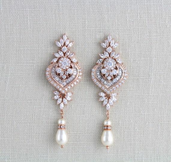 Rose gold Ohrringe Hochzeit Schmuck Braut Ohrringe Brautjungfer Ohrringe Kronleuchter Ohrringe Kristall Ohrringe Rose gold Art Deco EMMA