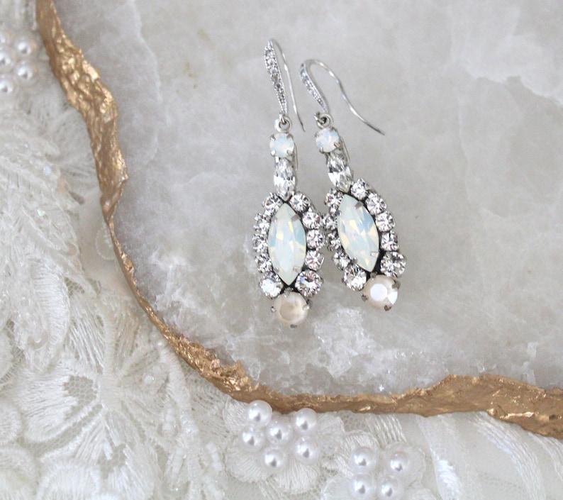 c52735b2c16b12 Long Crystal Bridal earrings Marquise stone Wedding earrings   Etsy