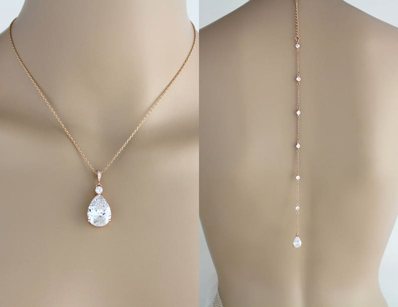 ceb111f4a7a2 Bridal back necklace Rose gold backdrop necklace Bridal