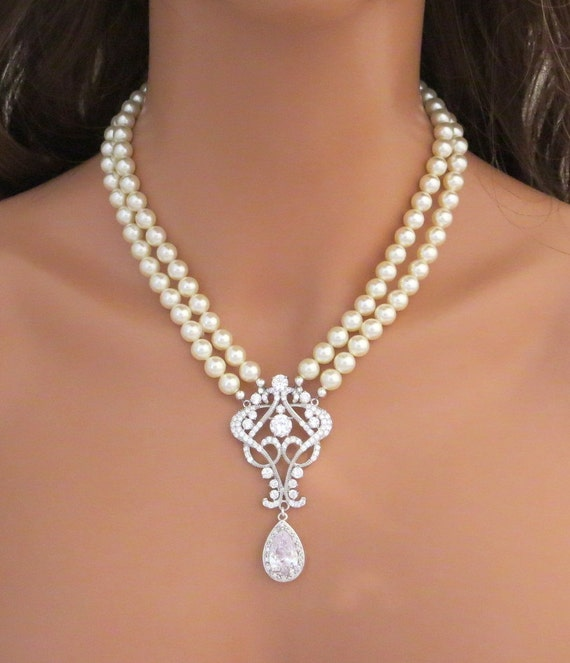 Pearl Wedding Necklace Crystal Bridal Necklace Bridal Jewelry Etsy