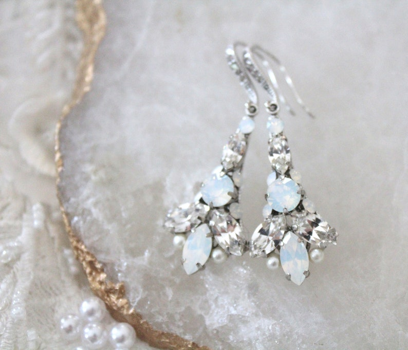 1da727cdb97229 Crystal Bridal earrings Art Deco earrings Vintage style   Etsy