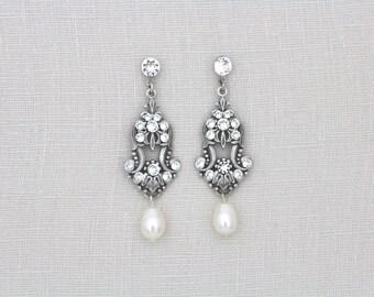 Bridal earrings, Crystal Wedding earrings, Bridesmaid earrings, Wedding jewelry, Pearl drop earrings, Swarovski crystal, Pearl earrings