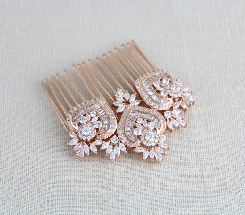 6b4722398 Rose Gold Bridal Hair Comb Rose Gold headpiece Rose Gold | Etsy