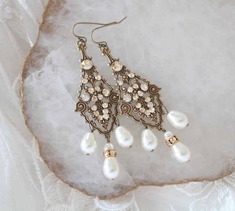 5e6e13a067bf Crystal Bridal earrings Pearl Chandelier earrings Bridal