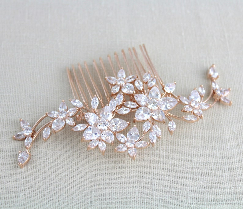 6fe1f950d Rose Gold hair comb Bridal hair comb Rose gold headpiece | Etsy