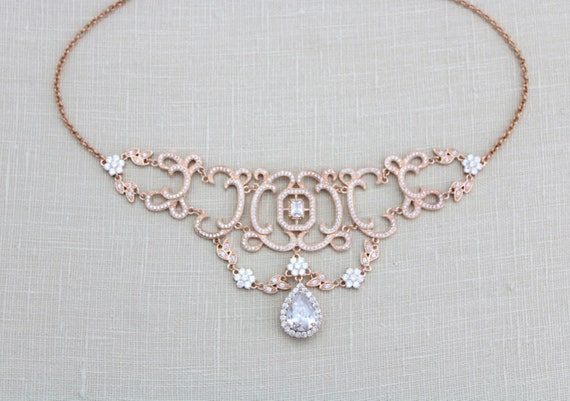Rose gold Choker necklace Crystal Bridal necklace Bridal  776ab2fc5