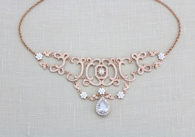 81b750e3e Rose gold Choker necklace Crystal Bridal necklace Bridal | Etsy