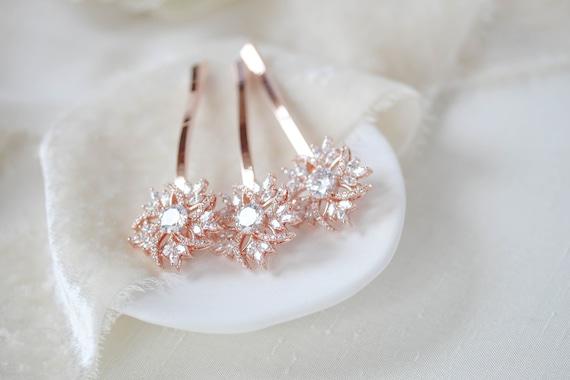 Rose Gold Hair Pin Bridal Hair Pins Rose Gold Wedding Hair Etsy