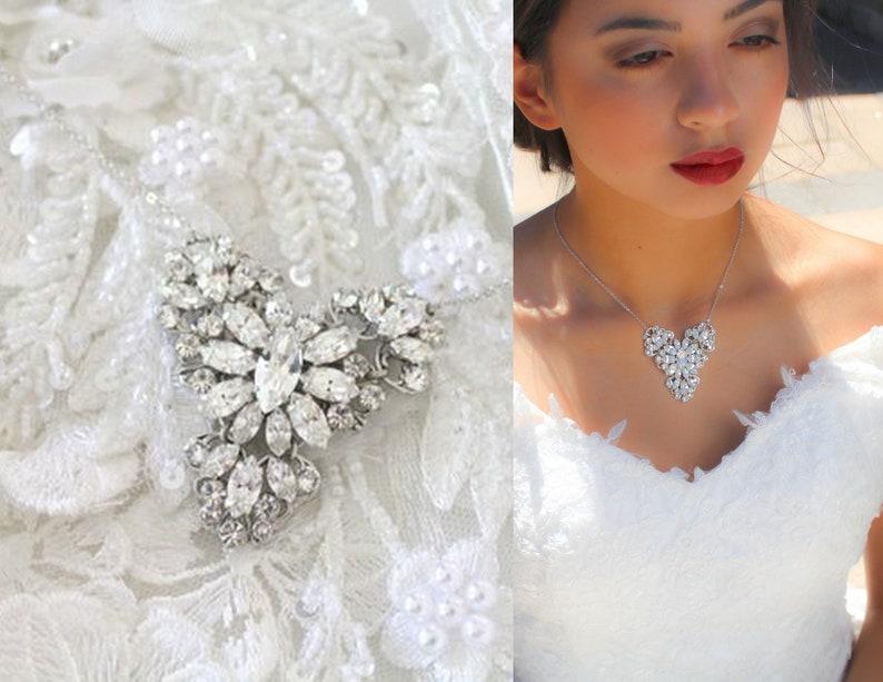 64c26bd80 Crystal Bridal necklace Swarovski Wedding necklace Bridal   Etsy