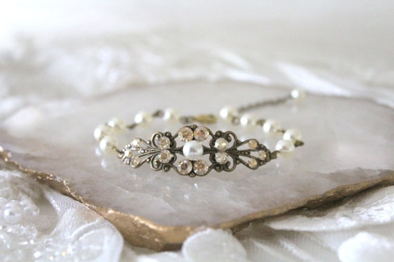 Antique Gold Bridal Bracelet Crystal Wedding Bracelet Bridal Etsy