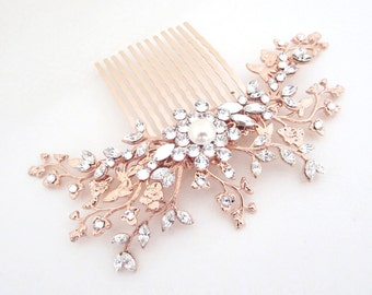 Rose Gold hair comb, Bridal hair comb, Wedding headpiece, Rose Gold headpiece, Swarovski hair comb, Vintage style headpiece, Hair vine