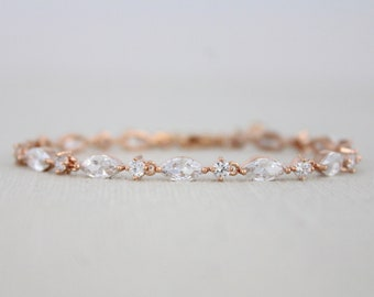 Dainty Rose gold Bridal bracelet Bridal jewelry CZ Wedding bracelet Tennis bracelet Simple Bridesmaid bracelet Rose gold Wedding jewelry