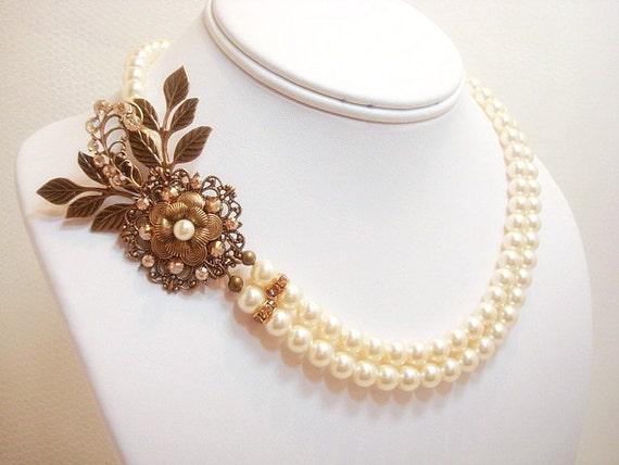 61fed3d10 Antique Gold Bridal necklace Pearl Wedding necklace Bridal | Etsy