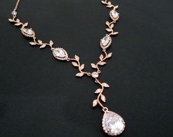 Bridal necklace, Rose Gold necklace, Rose gold bridal jewelry, Crystal Wedding necklace, Crystal necklace, Bridesmaid necklace, Pink gold
