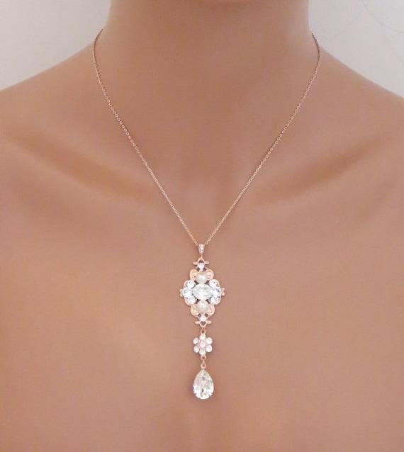 d831de458 Rose Gold Bridal necklace Bridal jewelry Crystal Wedding | Etsy