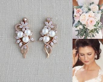 Crystal Bridal earrings, Rose Gold earrings, Bridal jewelry, Pearl earrings, Wedding jewelry, Simple earrings, Swarovski earrings, MIA