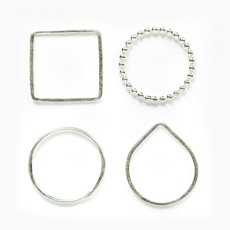 Sterling Silver Stacking Rings available in different shapes image 0