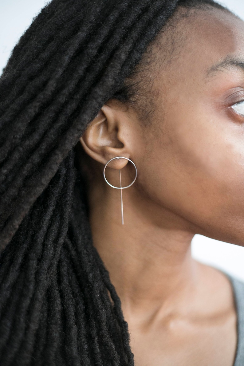 Circle and Line Threader Hoops Available in two sizes image 0