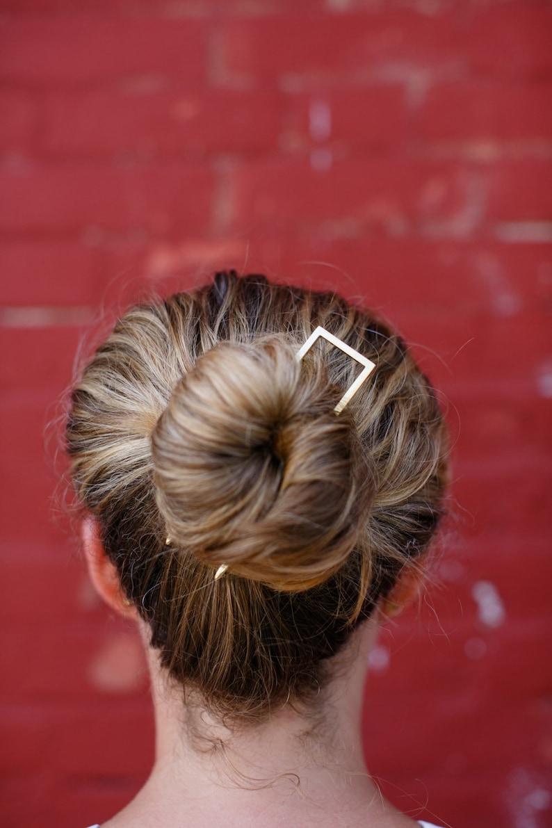 Square Brass Hair Pin image 0