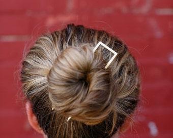 Square Brass Hair Pick