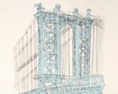 Manhattan Bridge, Brooklyn New York City, Screenprint