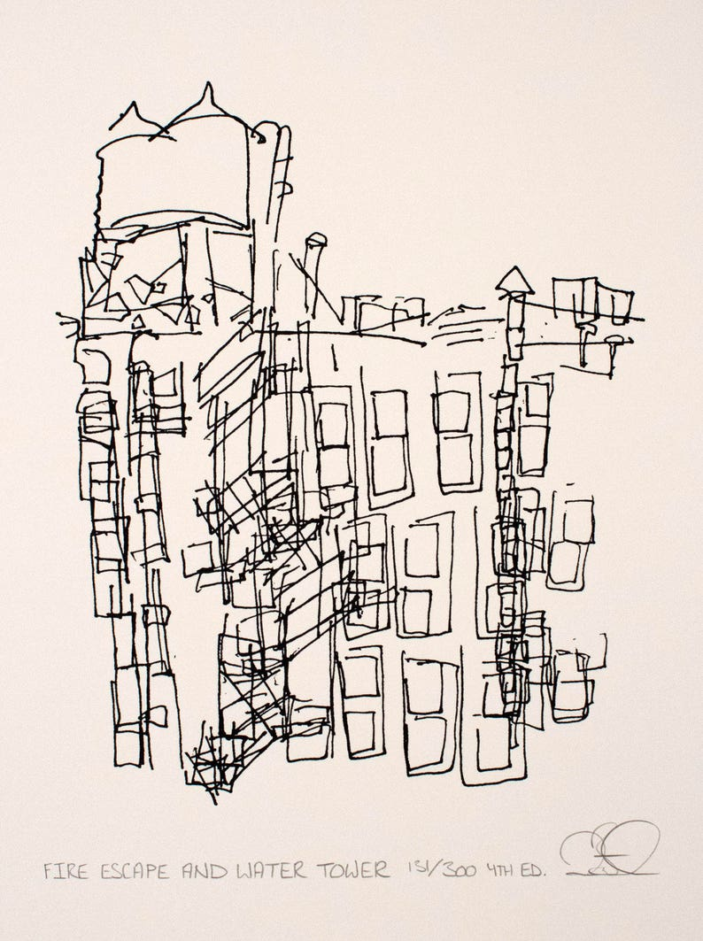 Fire Escape and Water Tower New York City Screenprint image 0