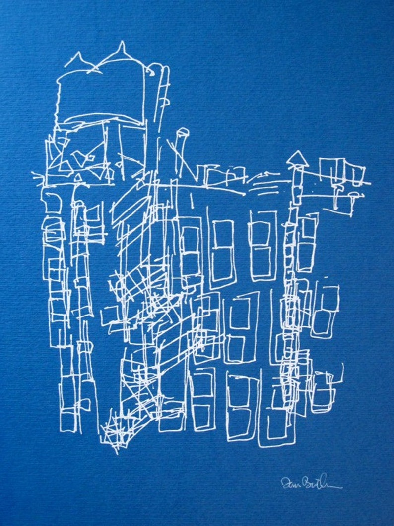 Blue Fire Escape New York City Screenprint image 0